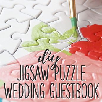 How to Make a Wedding Guestbook out of a Jigsaw Puzzle