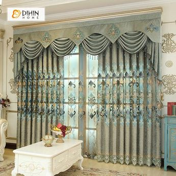 DIHIN HOME Fascinating Green Embroidered Valance,Blackout Curtains Grommet Window Curtain for Living Room ,52x84-inch,1 Panel