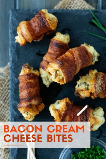 Bacon Cream Cheese Bites are party food perfected. Nothing disappears faster at a party. #bacon #partyfood #appetizers