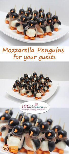 Mozzarella Penguins for your guests