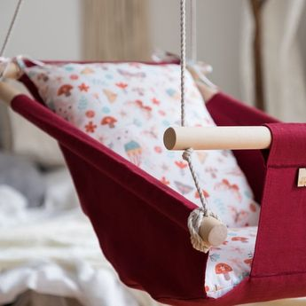 Baby linen indoor swing OWL, hanging cradle, hammock for toddlers and kids, 1st birthday gift, boho Nursery Decor, cotton rope