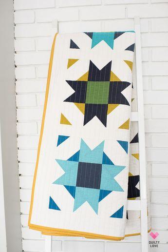 Compass Star Quilt Pattern _ A modern star quilt