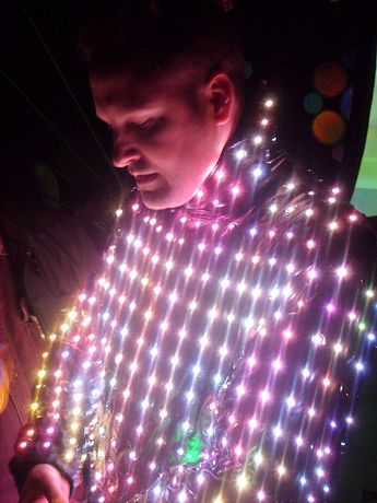 Bunny in his LED video suit