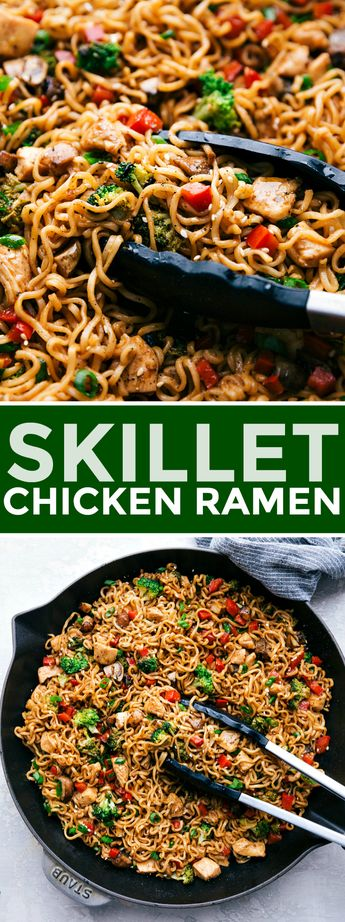 30 MINUTE CHICKEN RAMEN!!! This chicken ramen is an easy and flavorful 30-minute skillet dinner! With veggies, noodles, chicken, and an addictive sauce coating it all, this is a dinner the whole family will love! chelseasmessyapron.com #noodlerecipes #stirfry #redpeppers #easy #hacks #homemade #spicy #healthy