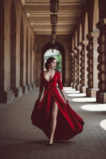 Red Prom Dress,Split Prom Dress,Fashion Prom Dress,Sexy Party Dress,Custom Made Evening Dress