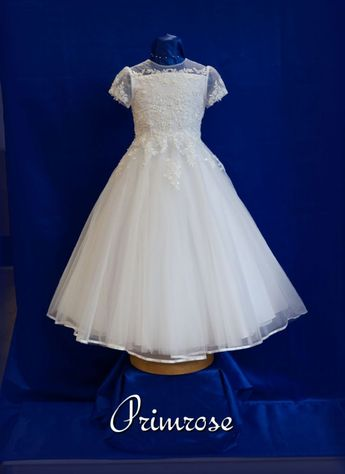 4bddde814e Beaded Lace Communion Dress with Sleeves - White Angel Primose - Pretty First  Communion Dress for