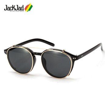 d8a07bf3134 JackJad 2018 Fashion SteamPunk Style Lens Removable Sunglasses Clip On  Vintage Round Brand Design Sun Glasses