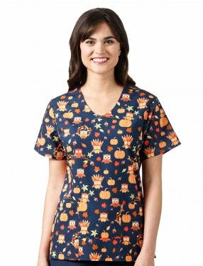 01b2ba6adc6 Tooniforms Halloween Town Knit Panel Scrub Top
