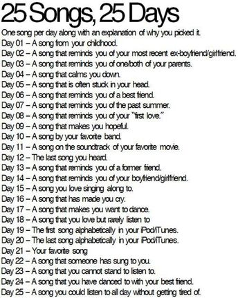 25 Songs, 25 Days (Blog Challenge)