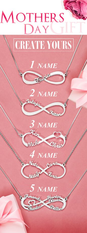 Personalized Infinity Family Name Necklace Sterling Silver