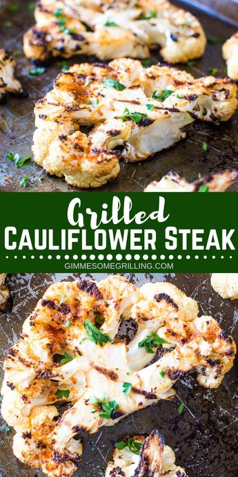 Mix up your vegetables with these delicious Roasted or Grilled Cauliflower Steaks! They are perfectly seasoned to make these cauliflower steaks bursting with flavor. A healthy side dish on the grill or in the oven that doesn't lack flavor! #gimmesomegrilling #cauliflower #grill #grilled #grilling #sidedish #healthy #recipe #healthyrecipe #cauliflowersteak via @gimmesomegrilling