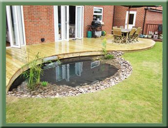 Curved Decking with a Pond