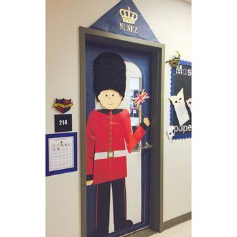 London themed classroom door decor