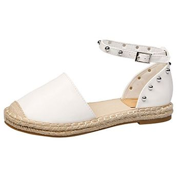 3a964b5aed0d Feet First Fashion Andrea Womens Flat Studded Ankle STR White 4 UK37 EU