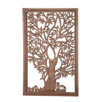 Rectangular Wood Carved Tree Wall Decor