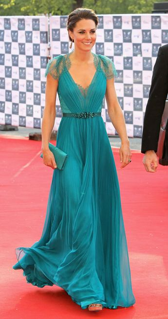 Kate Middleton is an extra-special TGIF treat in the most beautiful teal Jenny Packham gown ever