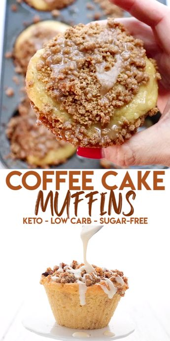 Oooh la la! These tender coffee cake muffins are a breakfast favorite. Low carb and sugar-free but they taste like your coffee chop favorite. Easy to make too! #muffins #ketorecipes #coffeecake #sugarfree #almondflour #coconutflour