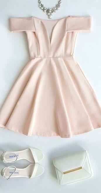 Cute Off-the-Shoulder Homecoming Dress, Light Pink Prom Dress,V-Neck Evening Dress,Party Dress,294