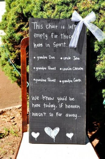 """""""We know you'd be here today, if heaven wasn't so far away"""" wedding sign"""