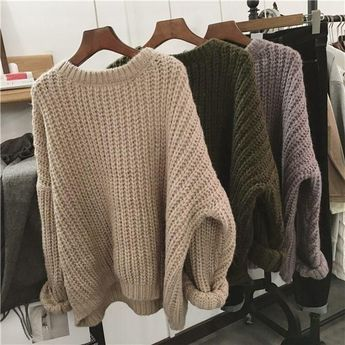 Buy Thick Knit Oversized Beige Green Purple Warm Sweaters korean style Cheap Trendy Aesthetic Clothes and Grunge Tumblr Apparel Store. Free Shipping Worldwide
