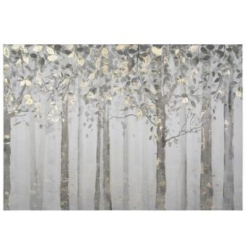 "Yosemite Home Decor 28 in. x 40 in. """"Grey and Yellow Trees"""" Printed Canvas Wall Art, Multi"