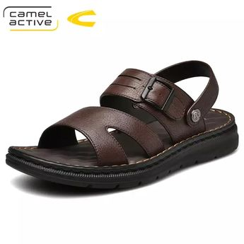 Camel Active 2019 New Design Summer Antiskid Gladiator Genuine Leather  Buckle Strap Sandals Men Casual Flat Fashion shoes