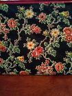 Vintage Floral design Makeup Bag red vinyl lining fabric shell