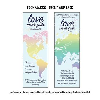 2019 Love Never Fails Laminated BOOKMARKS with Ribbon, Inte