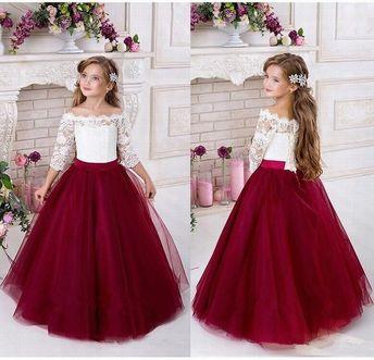 Princess Lace Flower Girls Dress Half Sleeve Ball Gown Tulle Cheap China First Communion Dresses Ytz273