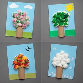 Four Season Tree Craft For Kids To Make With Paper Rolls & Cotton Balls