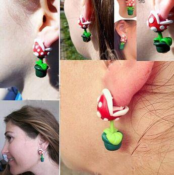 2015 New Summer Style Fashion Handmade Polymer Mario Clay Piranha Plant Earring Stud Earrings for Women Aretes Oorbellen Bijoux