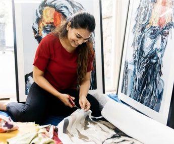 Happy space ❤️ . Image from a special photoshoot .  #artlife🎨 #artistoninstagram #studiolife #upcycle #upcyclingart #textileart #textileartist #textilelove #art #artist #artistlife #artist #tbt #fun #sustainability #sustainableart #whenthelightisperfect #posenotpose #mumbai #mumbaiartist #indianart #bluebicycledesign #WIP #process #handmade #ecowa