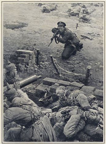 How Sergeant O'Leary of the Irish Guards won the V.C. - Sergeant O'Leary, V.C., attacking the German machine gun crew single-handed. Published in The Sphere, 13 March 1915. - Source lookandlearn.