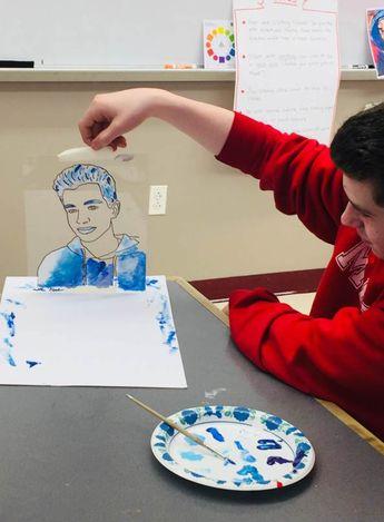 Reverse Painting Acetate Self Portraits