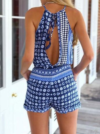 Playsuit Boho Style Romper in Blue is casual sexy and perfect to wear on the weekend to the beach. Summer beach outfit with free returns and free shipping.