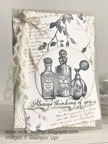 Vicki Boucher Stampin' Up! Demonstrator Australia: Stampin' Up! Vintage Card ~ Fanciful Fragrance and Very Versailes Stamp Sets