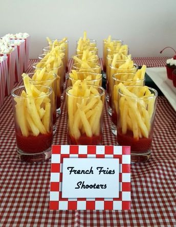 Grease themed party snack-French Fries Shooters / 1950s Themed Party Food Idea. #1950s #Grease #50sparty #50sfood #frenchfries