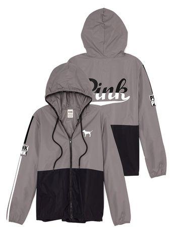 Victorias Secret PINK Anorak Full Zip Jacket Windbreaker Black/Gray XS/Sm NEW