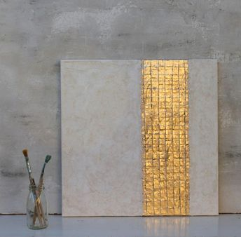 """Gold leaf, white, Abstract painting, office decor, mixed media, gold leaf, wall decor, art, golden Art, contemporary, wall art, 16x12x0,6"""""""