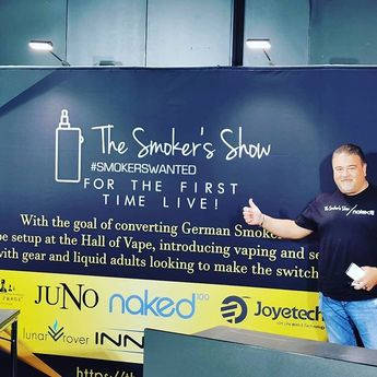 Posted @withrepost  @vapingreek First ever Smokers Show LIVE at the Hall Of Vape Stuttgart Germany! #tasteyourjuice #VapeBromance #smokerswanted #smokersshow #teaminnokin