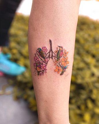 Breathe in nature 🍁🐦🌸 Tattoo by @vicnascimentotattoo