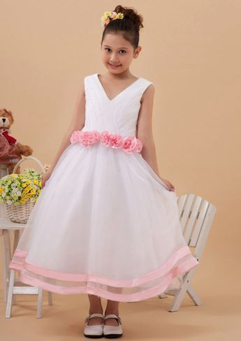 1549fb5837 US 101.99 2015 Flowers Tulle Pink Zipper Sleeveless White V-neck Ruched Tea  Length Flower