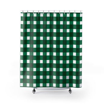 Shower Curtain Gingham Checkers Green Grid Bathroom Decor Designer Decorative