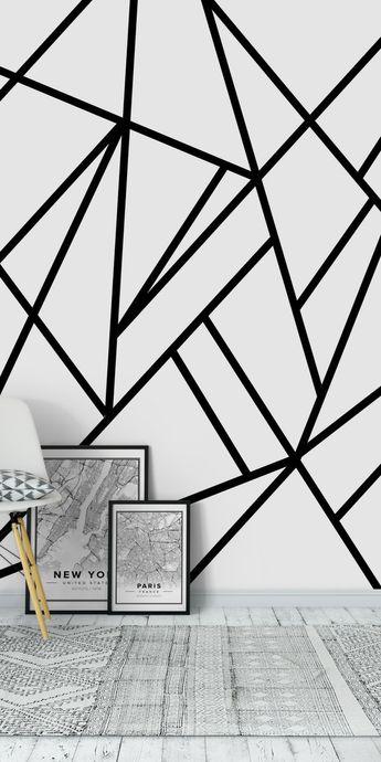 Classic Black White Geo 2 Wall mural