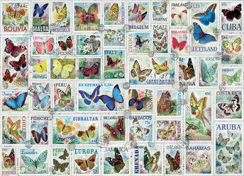 """Eurographics puzzles. Butterflies Vintage Stamps. 500 pieces. Puzzle Size: 19.25"""" x 26.5"""". Two great hobbies, stamp collecting and puzzles come together in this in this artful and educational image."""
