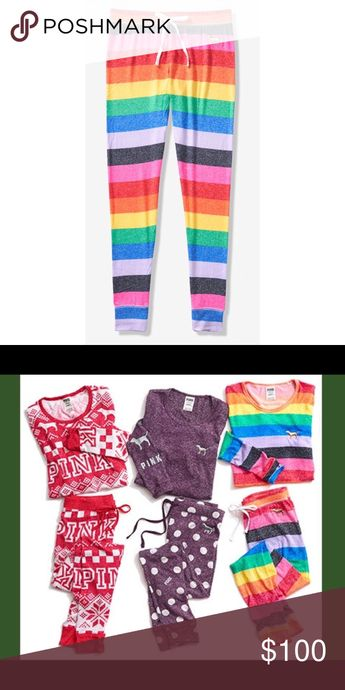 NEW VS PINK Rainbow 🌈 Stripe Pajama Pants NEW VS PINK Rainbow 🌈 Stripe Pajama Pants   **listing for pants / leggings only**  Hot item🔥   Sold out at Victoria's Secret  BRAND NEW NEVER WORN   I sold out of the 1st batch I had and these will be the last 2 pants I ever get (1 medium shirt left)   No offers due to high demand. Thank you PINK Victoria's Secret Intimates & Sleepwear Pajamas
