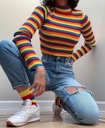 Rainbow Ribbed Top Crop Womens Striped Knitted T-shirt Long Sleeve Turtle Neck Knit Print Vintage Retro Tumblr Grunge Multi Color Festival