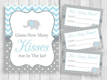 Guess How Many Kisses in the Jar Printable 5x7 or 8x10 Boy's Baby Shower Sign and 3x5 Cards, Light Blue and Gray Elephant Instant Download