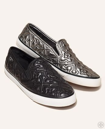 A uniquely-detailed slip-on, with quatrefoil-stitched leather inspired by Old World armor