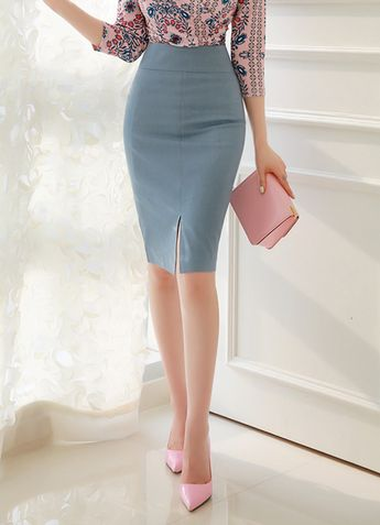 Front Slit High-Waisted Pencil Skirt